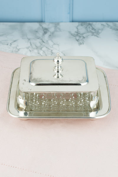 Vintage Silverplate and Glass Sardine Box
