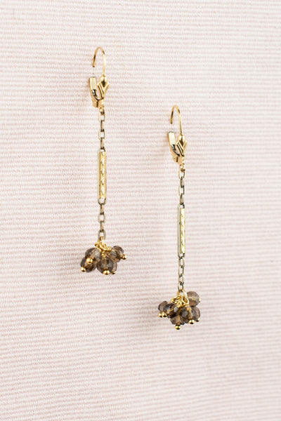 Vintage Watch Link and  Smoky Quartz Earrings