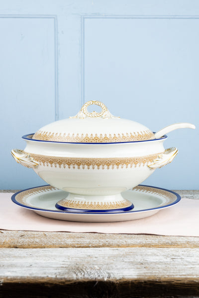 Antique Royal Worcester Covered Tureen with Ladle