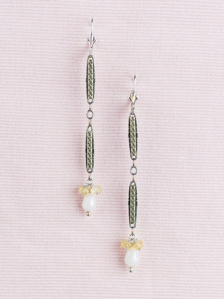 Antique Sterling Watch Link & Opal Earrings