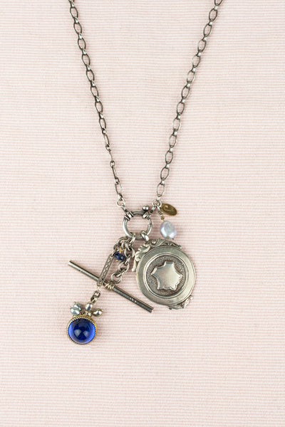 Vintage Sterling Medal, Pearl, and Glass Bead Charm Necklace