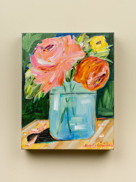 Original Wildflowers in Mason Jar Painting - 8x10