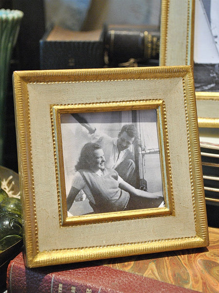 Square Italian Cream and Gold Frame