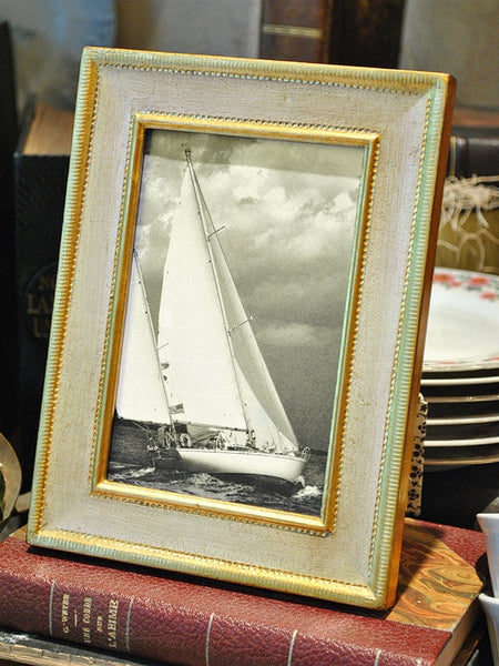 Rectangular Italian Cream and Gold Frame