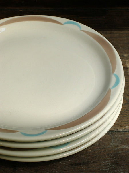 Vintage Tan and Turquoise Dinner Plate