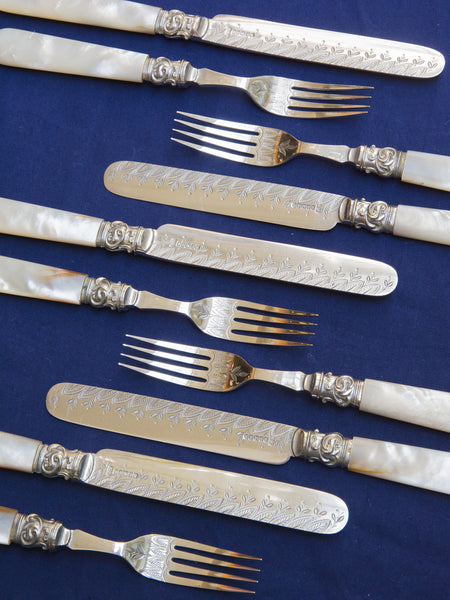 Victorian Silverplate & Mother-of-Pearl Fruit & Dessert Service for 12