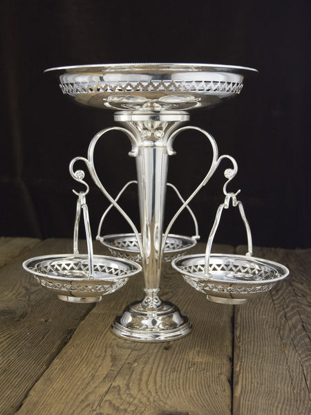 Antique Silverplate County Hotel Centerpiece Epergne