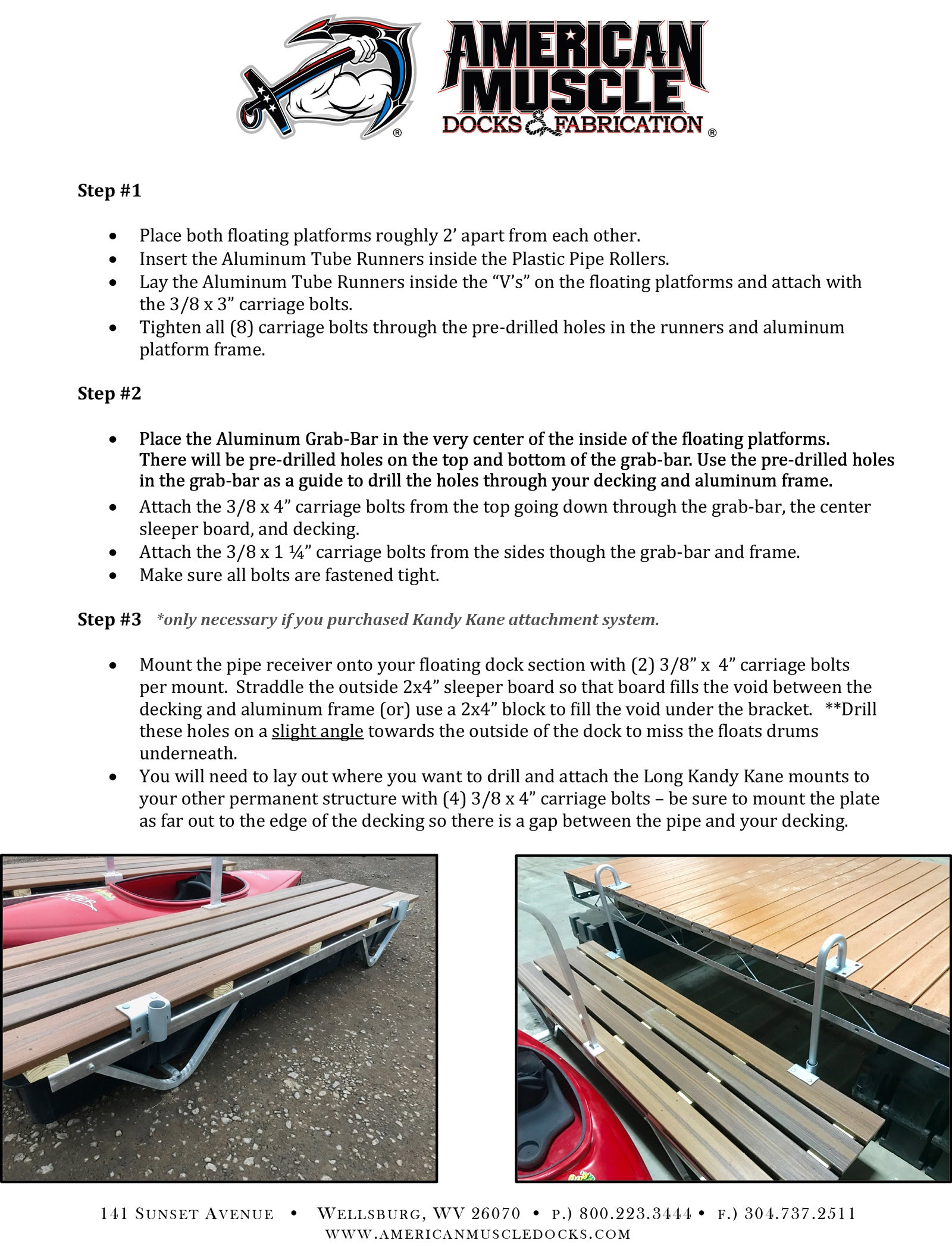 American Muscle Docks Kayak Launch Dock Instructions - Scroll to bottom for text-only instructions