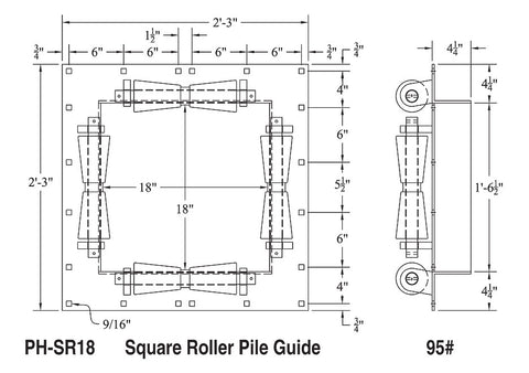 Square Pile Guide (Rubber)