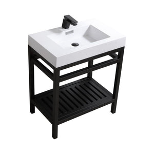 "KubeBath Cisco 30"" Stainless Steel Console with Acrylic Sink - Matte Black"