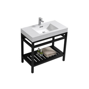 "KubeBath Cisco 36"" Stainless Steel Console with Acrylic Sink - Matte Black"