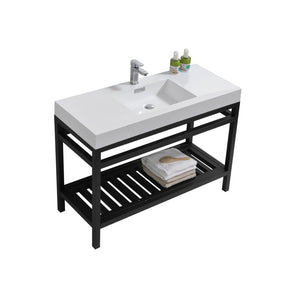 "KubeBath Cisco 48"" Stainless Steel Console with Acrylic Sink - Matte Black"