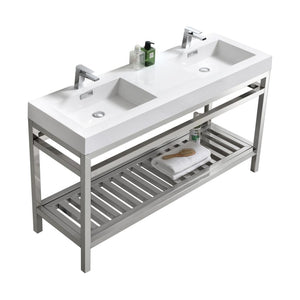 "KubeBath Cisco 60"" Double Sink Stainless Steel Console with Acrylic Sink - Chrome"