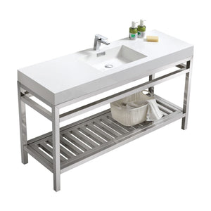 "KubeBath Cisco 60"" Single Sink Stainless Steel Console with Acrylic Sink - Chrome"