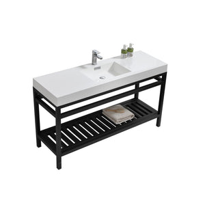 "KubeBath Cisco 60"" Single Sink Stainless Steel Console with Acrylic Sink - Matte Black"