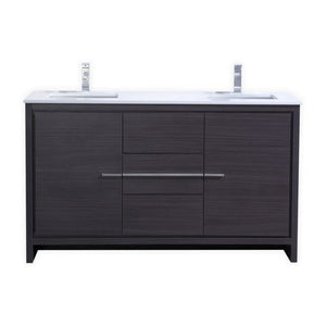 KubeBath Dolce 60″ Double Sink Dark Gray Oak Modern Bathroom Vanity with White Quartz Counter-Top