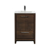 KubeBath Dolce 24″ Rose Wood Modern Bathroom Vanity with White Quartz Counter-Top