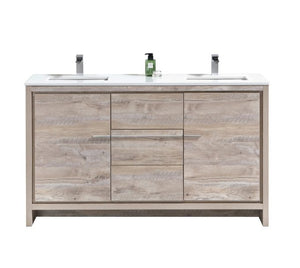 KubeBath Dolce 60″ Double Sink Nature Wood Modern Bathroom Vanity with White Quartz Counter-Top