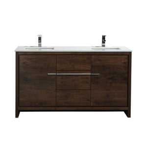 KubeBath Dolce 60″ Double Sink Rose Wood Modern Bathroom Vanity with White Quartz Counter-Top