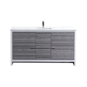 KubeBath Dolce 60″ Ash Gray Modern Bathroom Vanity with White Quartz Counter-Top