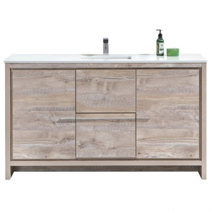 KubeBath Dolce 60″ Nature Wood Modern Bathroom Vanity with White Quartz Counter-Top