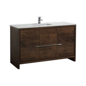 KubeBath Dolce 60″ Rose Wood Modern Bathroom Vanity with White Quartz Counter-Top