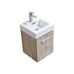 "KubeBath Bliss 16"" Nature Wood Wall Mount Modern Bathroom Vanity"
