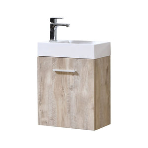 "KubeBath Bliss 18"" Nature Wood Wall Mount Modern Bathroom Vanity"