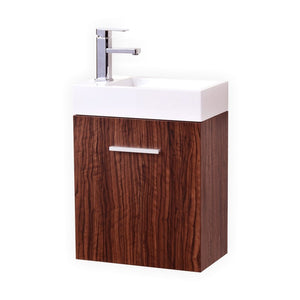 "KubeBath Bliss 18"" Walnut Wall Mount Modern Bathroom Vanity"