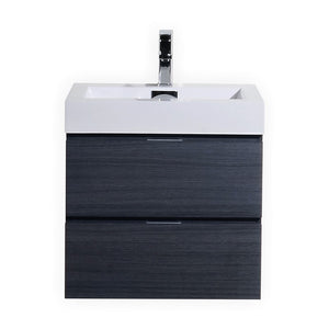 "KubeBath Bliss 24"" Gray Oak Wall Mount Modern Bathroom Vanity"