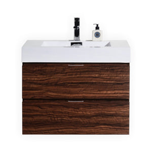 "KubeBath Bliss 30"" Walnut Wall Mount Modern Bathroom Vanity"