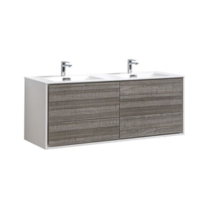 "KubeBath DeLusso 60"" Double Sink Ash Gray Wall Mount Modern Bathroom Vanity"