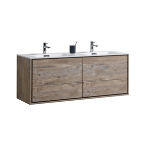 "KubeBath DeLusso 60"" Double Sink Nature Wood Wall Mount Modern Bathroom Vanity"
