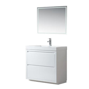 "Vanity Art Single-Sink Bathroom Vanity With Resin Top, 36"", VA6036WF"