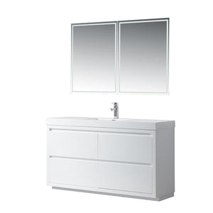 "Vanity Art Annecy 60"" Bathroom Vanity in White with Single Basin Top in White Resin, VA6060WF"