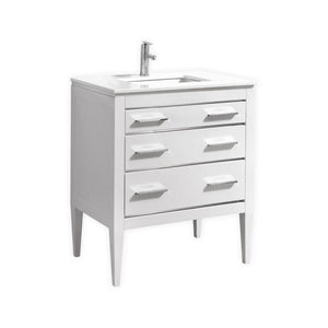 KubeBath Eiffel 30'' High Gloss White Vanity W/ Quartz Counter Top