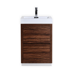 "KubeBath Bliss 24"" Walnut Free Standing Modern Bathroom Vanity"