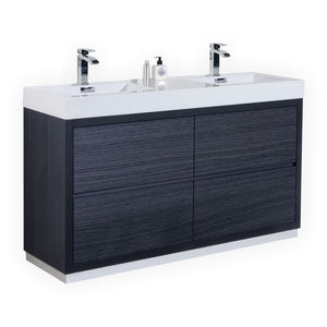 "KubeBath Bliss 60"" Double Sink Gray Oak Free Standing Modern Bathroom Vanity"