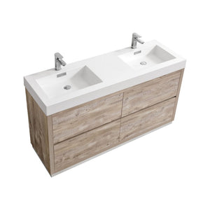"KubeBath Bliss 60"" Double Sink Nature Wood Free Standing Modern Bathroom Vanity"