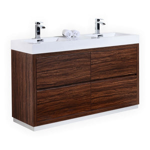 "KubeBath Bliss 60"" Double Sink Walnut Free Standing Modern Bathroom Vanity"