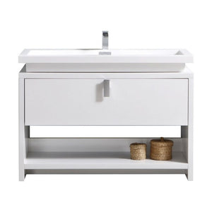 "KubeBath Levi 48"" High Gloss White Modern Bathroom Vanity w/ Cubby Hole"