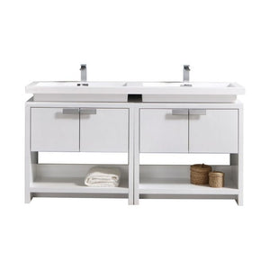 "KubeBath Levi 63"" High Gloss White Modern Bathroom Vanity w/ Cubby Hole"