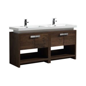 "KubeBath Levi 63"" Rose Wood Modern Bathroom Vanity w/ Cubby Hole"