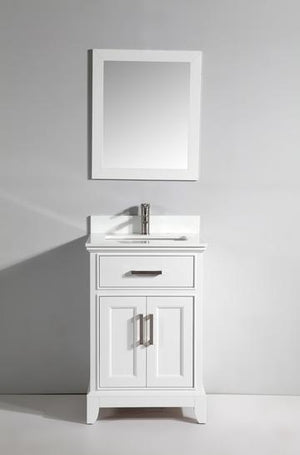 "Vanity Art 24"" Single Sink Vanity in Super White Phoenix Stone & Mirror - White, VA1024W"