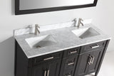 "Vanity Art 60"" Double Sink Vanity in Carrara Marble & Mirror - Espresso, VA2060DE"