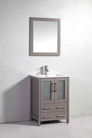 "Vanity Art 24"" Single Sink Vanity Cabinet with Ceramic Sink & Mirror - Grey, VA3024G"