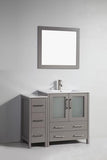 "Vanity Art 42"" Single Sink Vanity Cabinet with Ceramic Sink & Mirror - Grey, VA3030-42G"