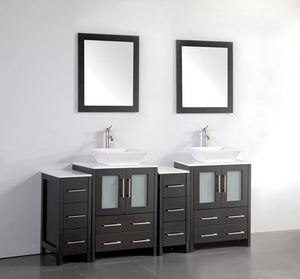 "Vanity Art Ravenna 72"" Bathroom Vanity in Espresso with Double Basin Top in White Ceramic and Mirrors, VA3124-72E"