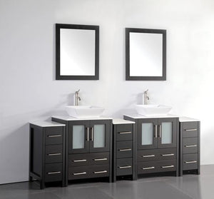 "Vanity Art Ravenna 84"" Bathroom Vanity in Espresso with Double Basin Top in White Ceramic and Mirrors, VA3124-84E"