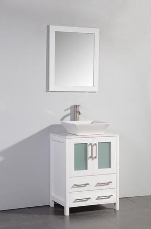 "Vanity Art 24"" Single Sink Vanity Cabinet with Ceramic Vessel Sink & Mirror - White, VA3124W"